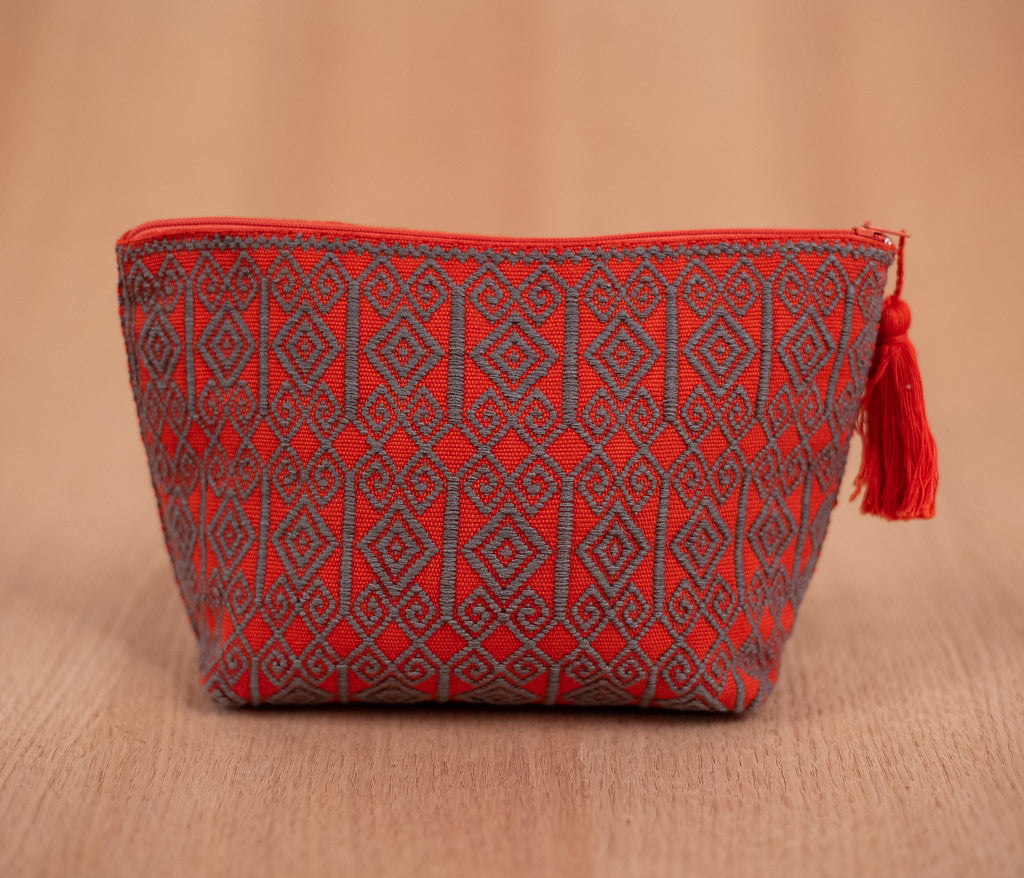 Orange with gray cosmetic bag - TOCO MADERA - Handcraft shoe from Mexico - Handmade shoe