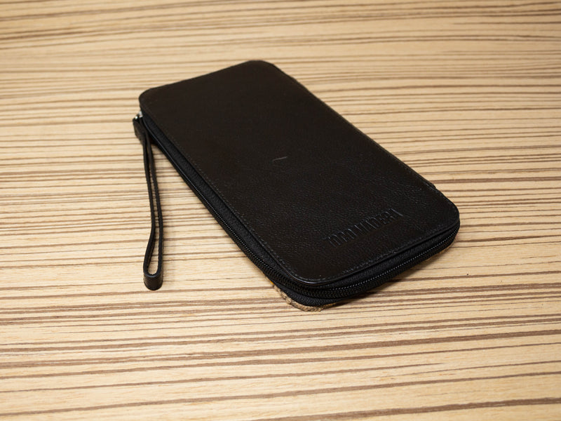 Family passport holder black leather textile brown - TOCO MADERA - Handcraft shoe from Mexico - Handmade shoe