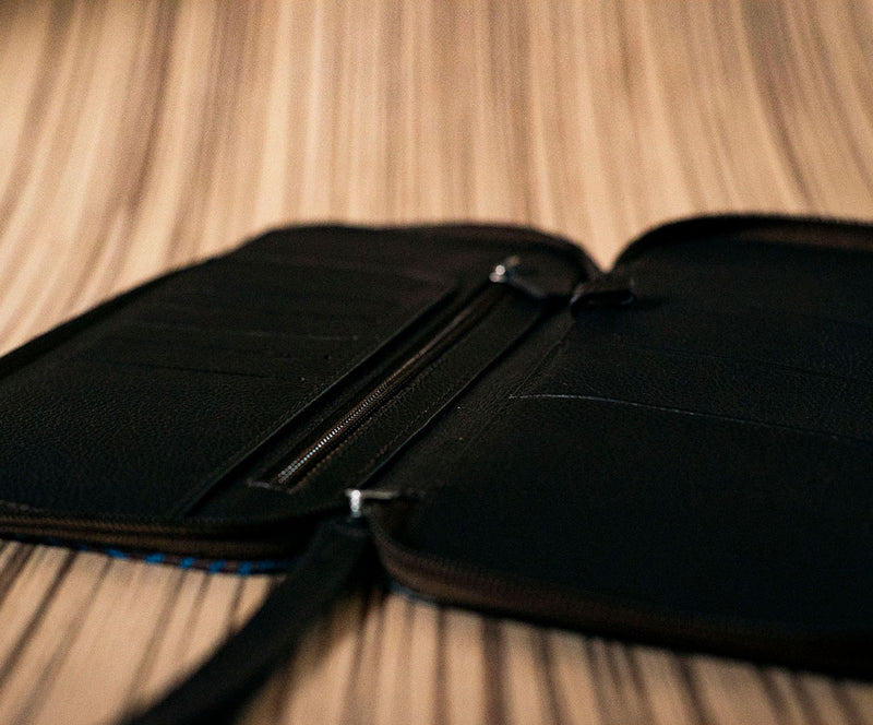 Brown leather family passport holder with blue textile ML - TOCO MADERA - Handcraft shoe from Mexico - Handmade shoe