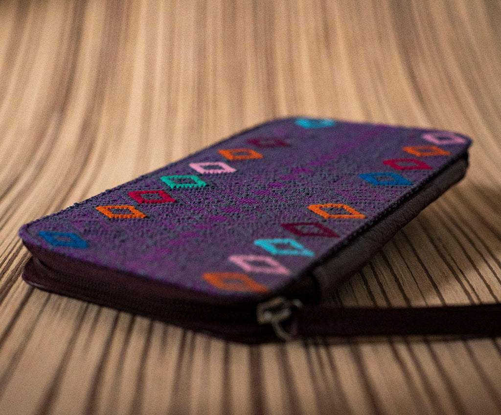Family passport holder purple leather textile purple - TOCO MADERA - Handcraft shoe from Mexico - Handmade shoe