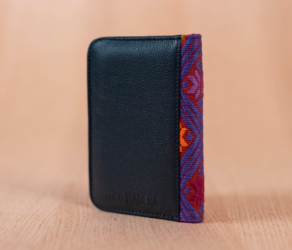 Individual passport holder blue leather purple textile - TOCO MADERA - Handcraft shoe from Mexico - Handmade shoe