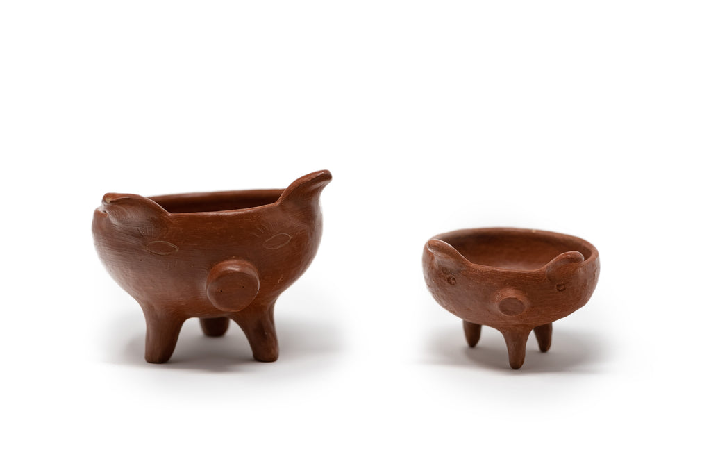 Two Piece Set - Puddle-shaped natural clay saucers from Oaxaca - TOCO MADERA - Handcraft shoe from Mexico - Handmade shoe