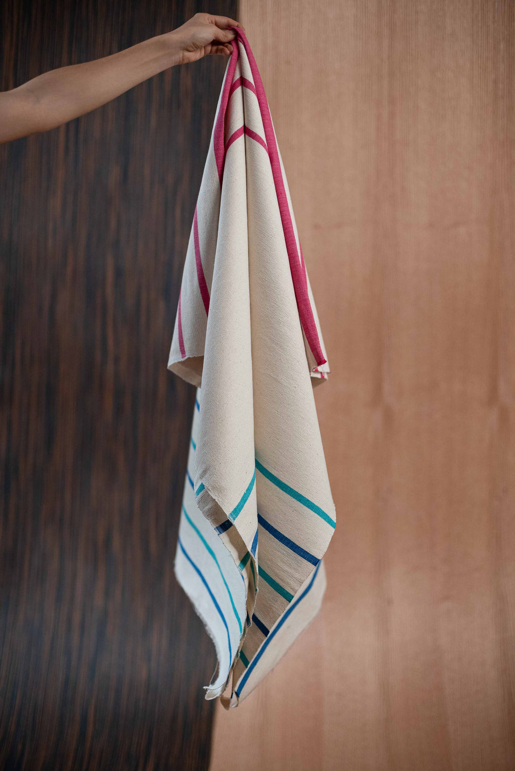 Blue pink towel - TOCO MADERA - Handcraft shoe from Mexico - Handmade shoe