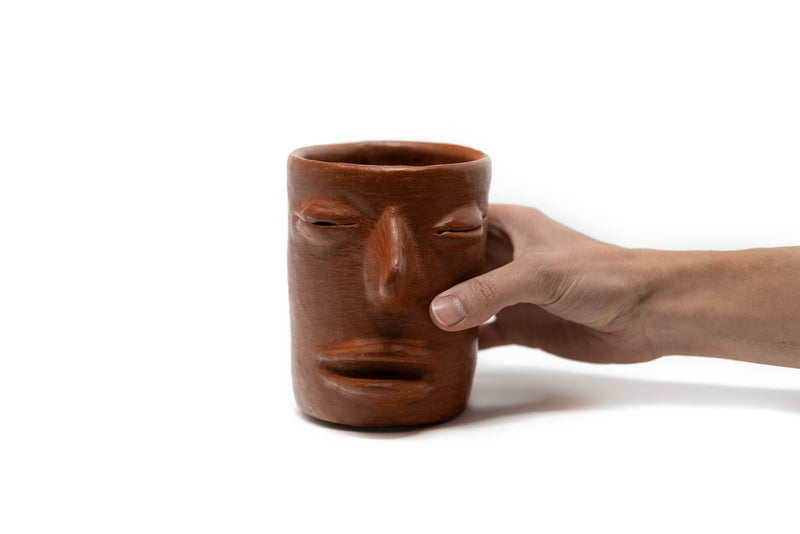 Natural clay cup from Oaxaca with face shape - TOCO MADERA - Handcraft shoe from Mexico - Handmade shoe