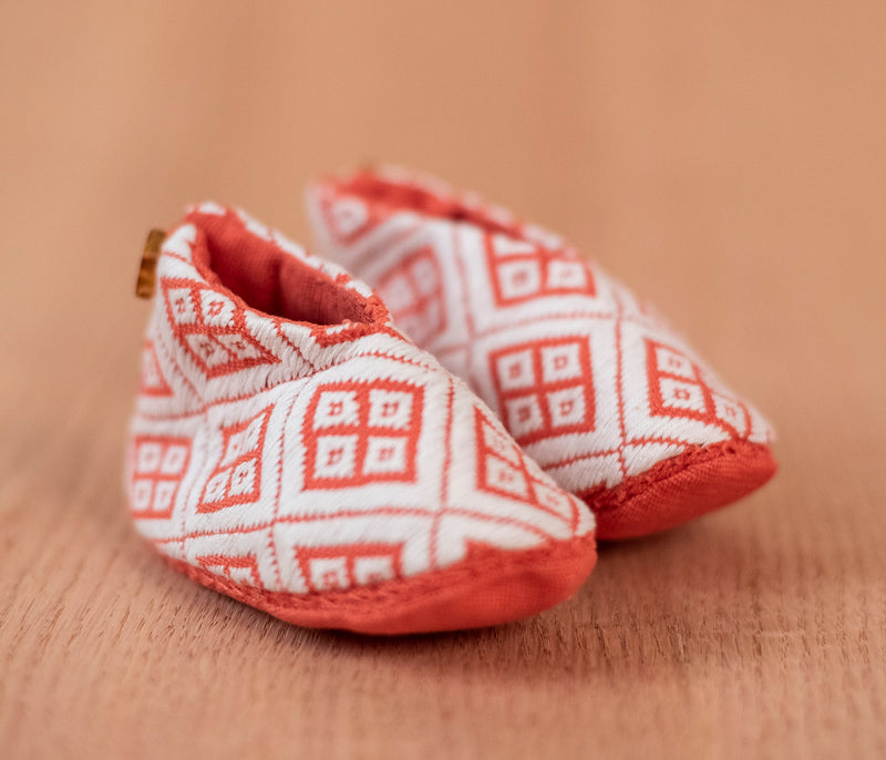 White orange fabric baby shoes - TOCO MADERA - Handcraft shoe from Mexico - Handmade shoe