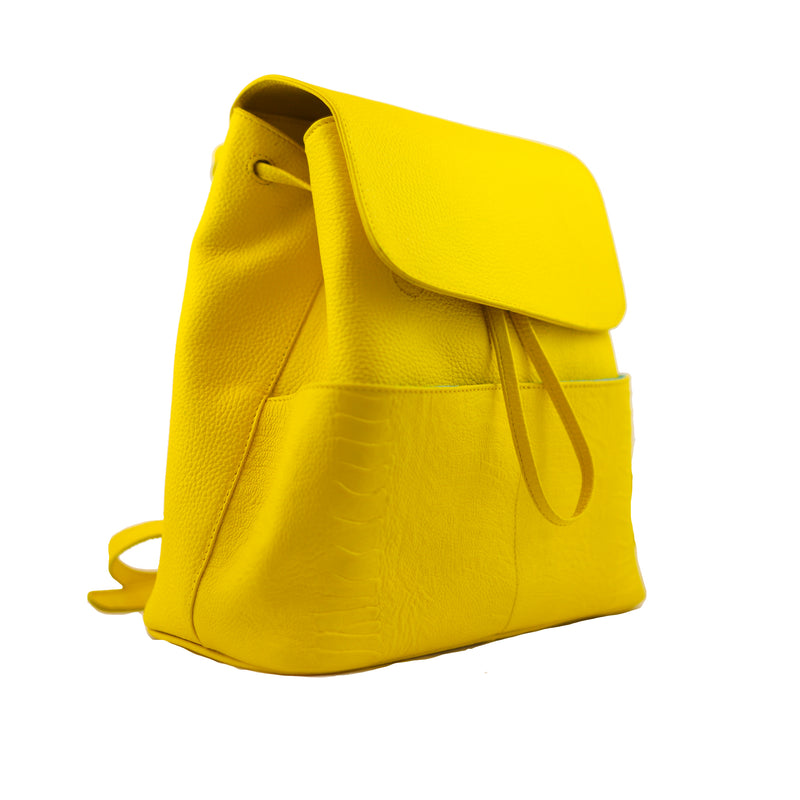 BOLSA BACKPACK - BACKPACK DE PIEL - SEÑORA LIBERTAD - BACKPACK AMARILLA
