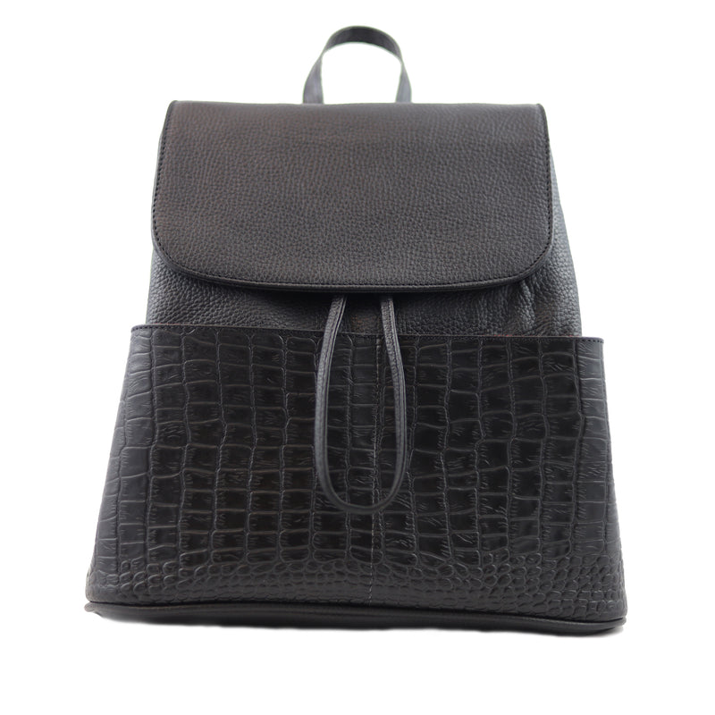 BOLSA BACKPACK - BACKPACK DE PIEL - SEÑORA LIBERTAD - BACKPACK NEGRA
