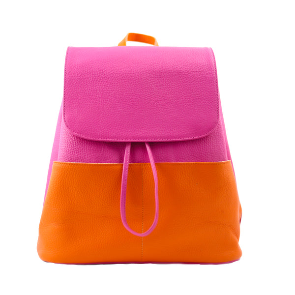 BOLSA BACKPACK - BACKPACK DE PIEL - SEÑORA LIBERTAD - BACKPACK ROSA