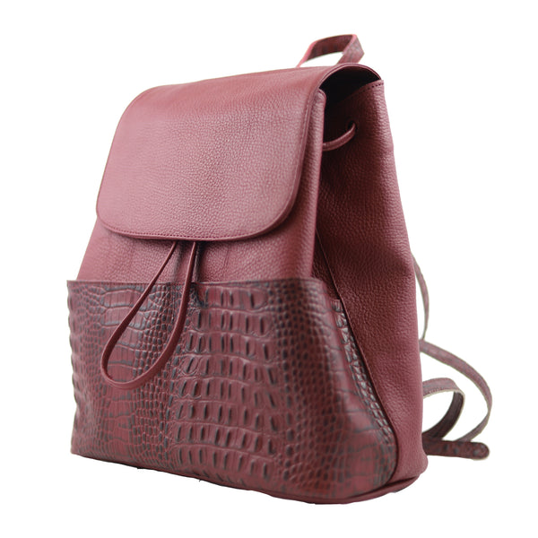 BOLSA BACKPACK - BACKPACK DE PIEL - SEÑORA LIBERTAD - BACKPACK VINO