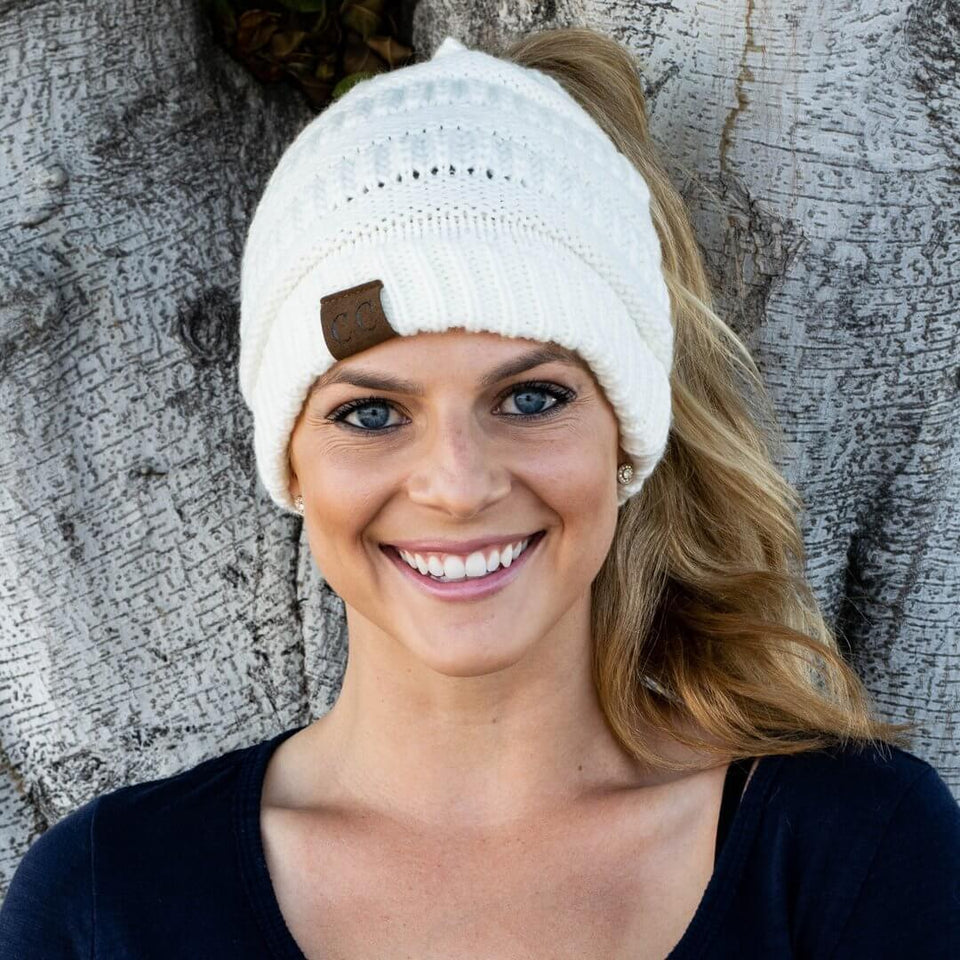 Soft Knit Ponytail Beanie - Bigtime Gadgets