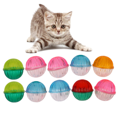 10Pcs Plastic Hollow Pet Cat Toys With Bells Chew Ball Toys for Cat Kitten Funny Interactive Training Toy Cat Products