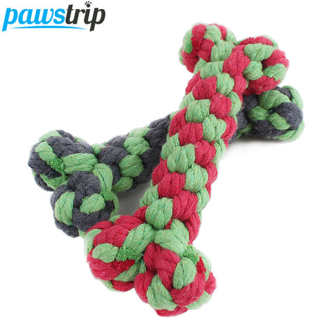 1pc Braided Bone Dog Toy Cotton Rope Puppy Chew Toys Random Color 15*7cm