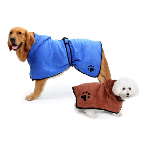 Sale XS-XL Pet Bathrobe Warm Clothes Super Absorbent Drying Towel Embroidery Paw Cat Dog Hood Bath Grooming Pet Product