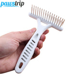Pet Dog Hair Shedding Grooming Comb Puppy Cat Stainless Steel Double Pin White Grip Handle Brush Comb