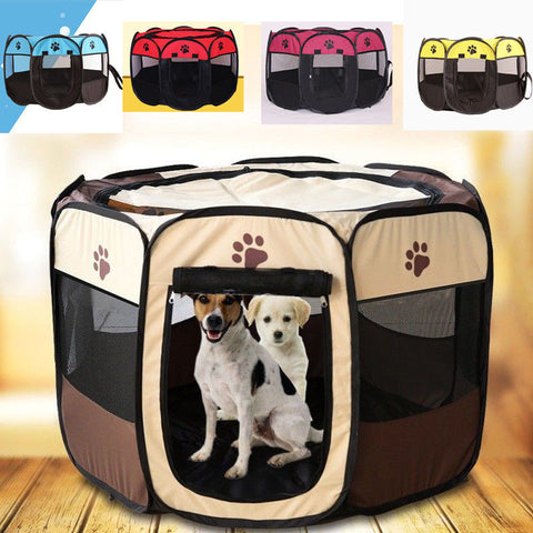 Cute Pets Dog Cat Playpen Tent Beds Portable Exercise Fence Kennel Cage Folding Crate