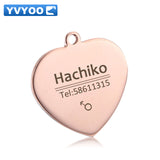 YVYOO Pet Cat Dog collar accessories Decoration Free engraving customized Pet ID Dog Tags Collars stainless steel Cat tag  BB