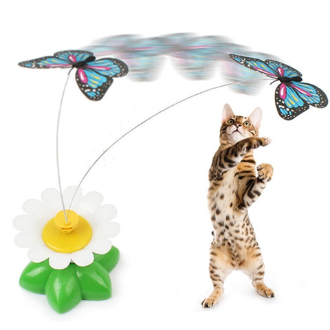 1pcs intelligent electric rotating colorful butterfly dog trainning funny cat toys pet birds head toy cat kitten dog cat scratch