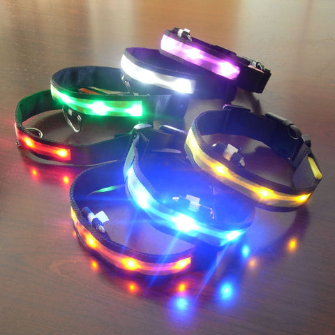 LED Dog Collar For Dogs Nylon Night Safety Glow Flashing Light Up Leash Head harness Luminous Puppy Necklace Small Dog DA