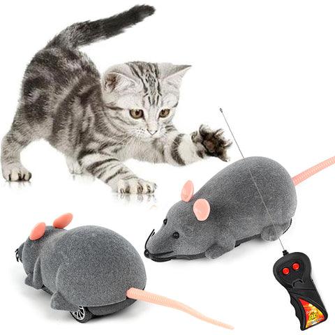 3 Colors Mouse Cat Toy Wireless Remote Control Pet Toys Interactive Pluch Mouse RC Electronic Rat Mice Toy For Kitten Cat