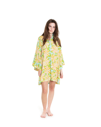 no. 650 multi colored floral lace mini caftan