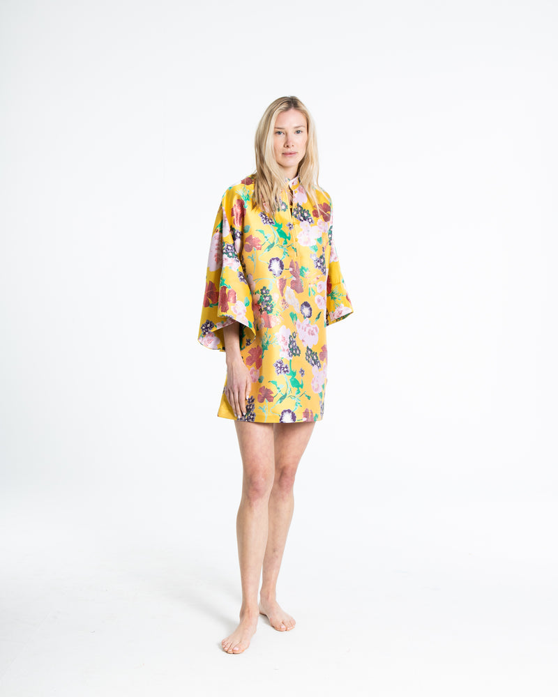 no. 293 yellow brocade mini caftan