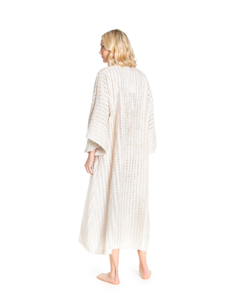 no. 505 tan metallic fringe maxi caftan