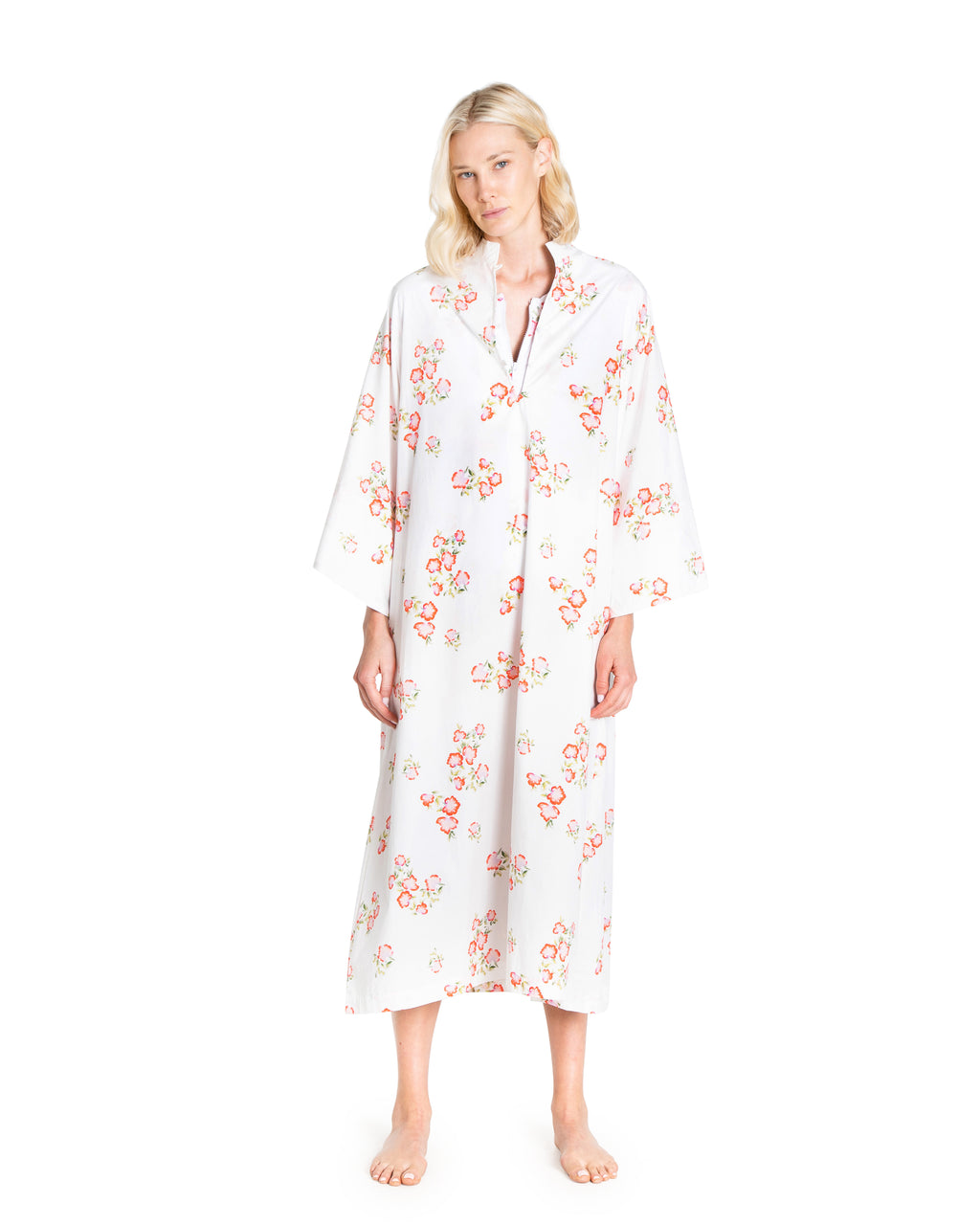 no. 498 white & pink floral maxi caftan