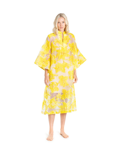 no. 658 - sheer silk black and yellow maxi caftan