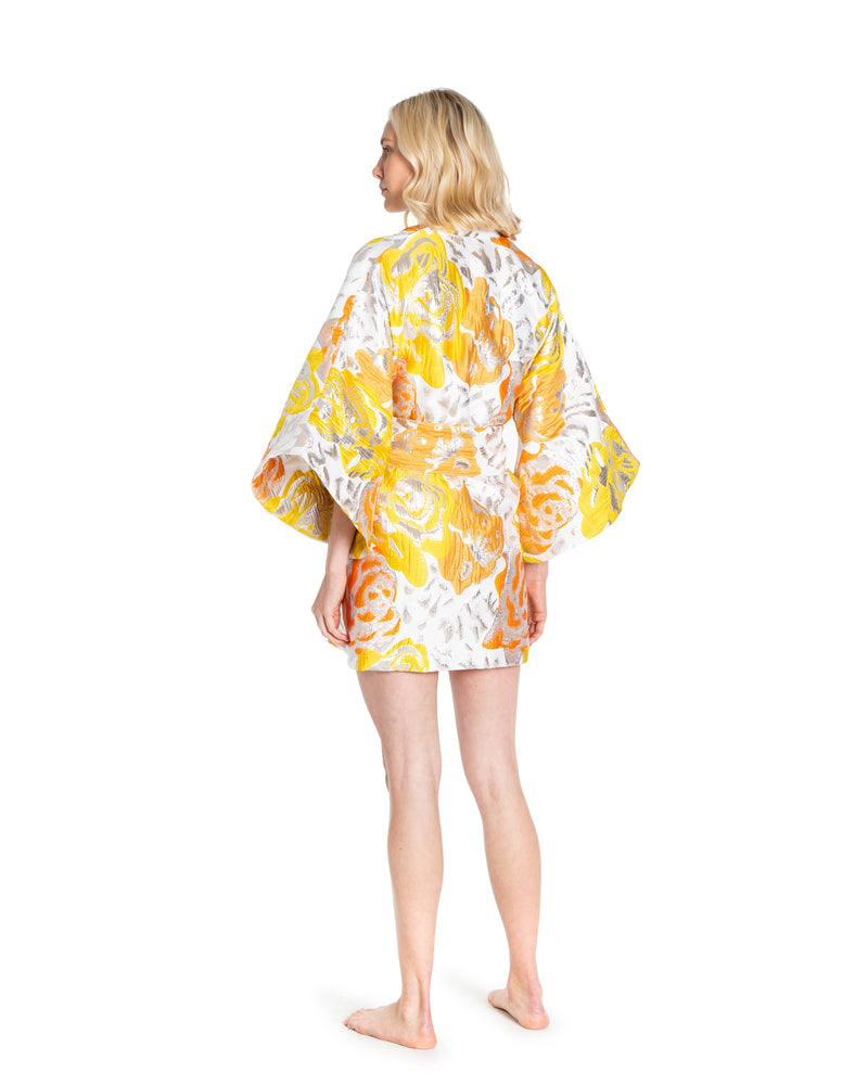 no. 497 yellow & orange brocade mini kimono
