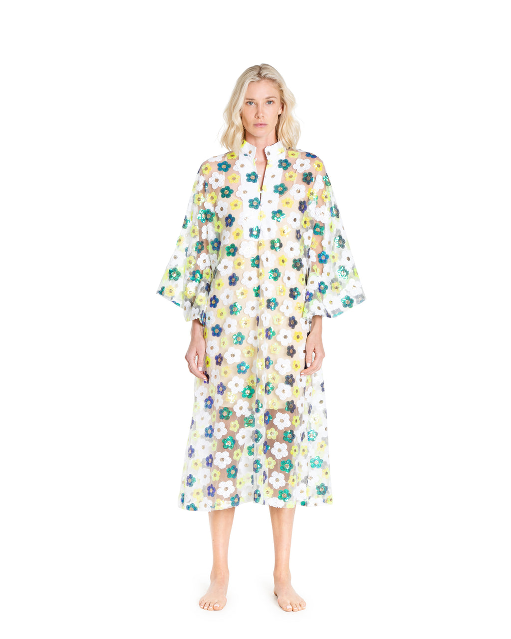 no. 685 white green and blue floral sequin maxi caftan