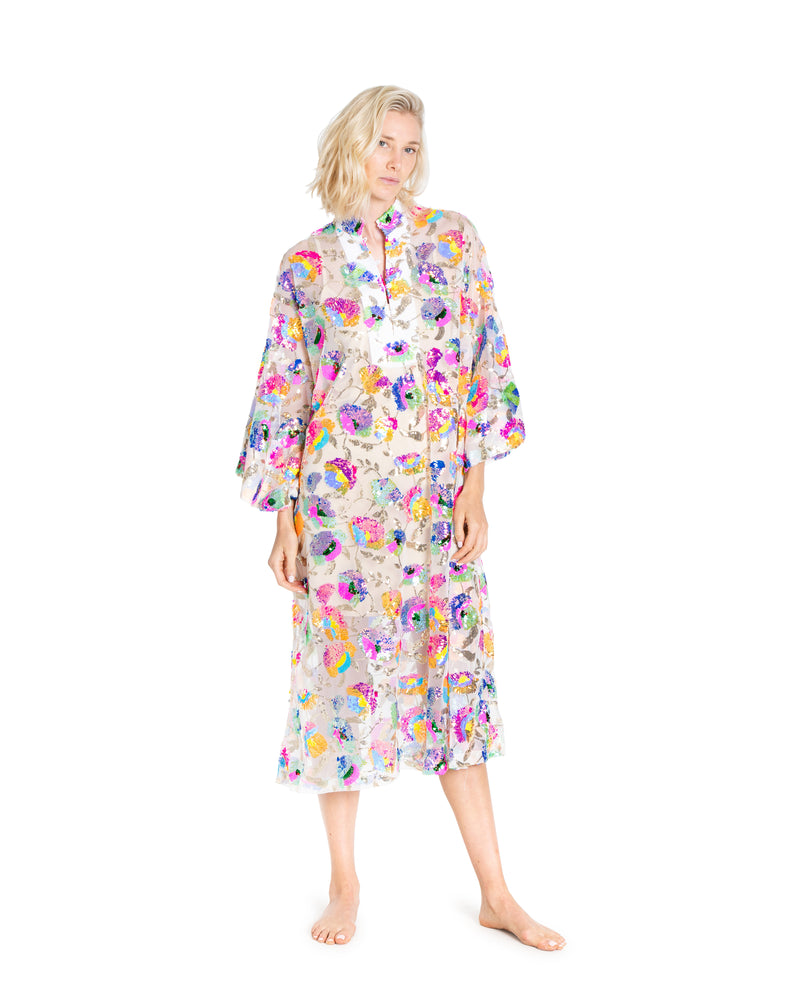 no. 540 tropical sequin maxi caftan