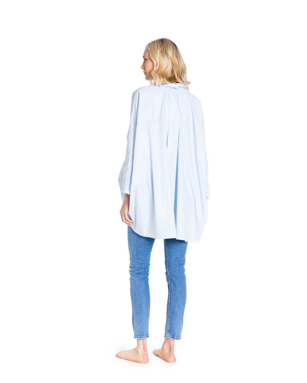 no. 1010 blue oversized button down shirt