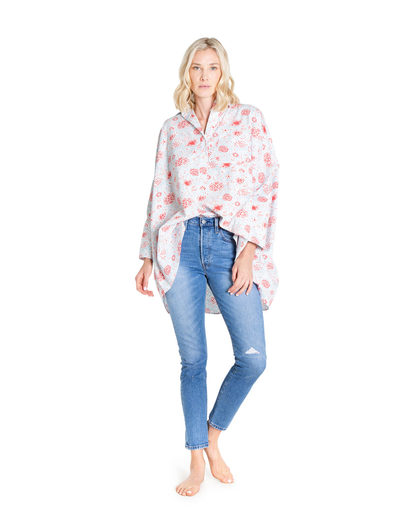 no. 1015 red & blue floral oversized button down shirt