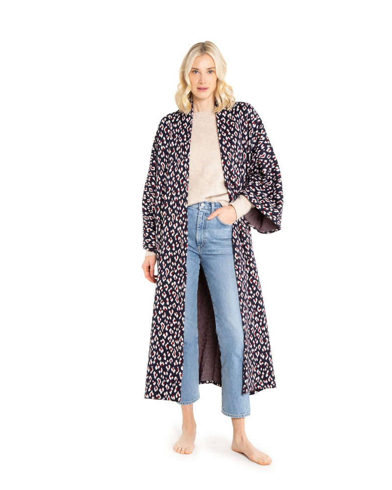 no. 4015 navy leopard duster