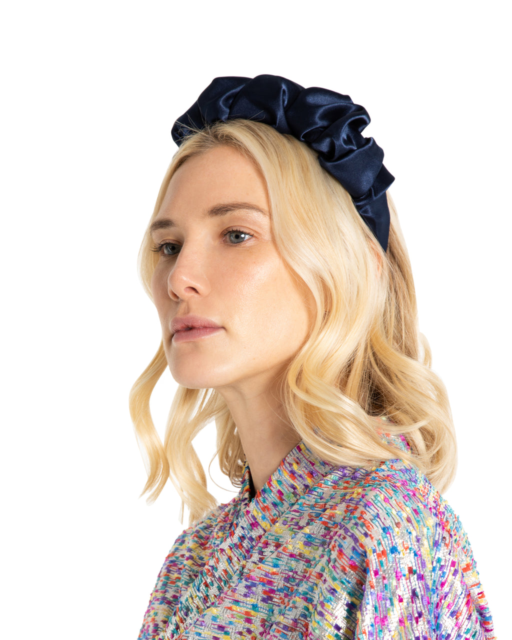 Navy Satin Headband