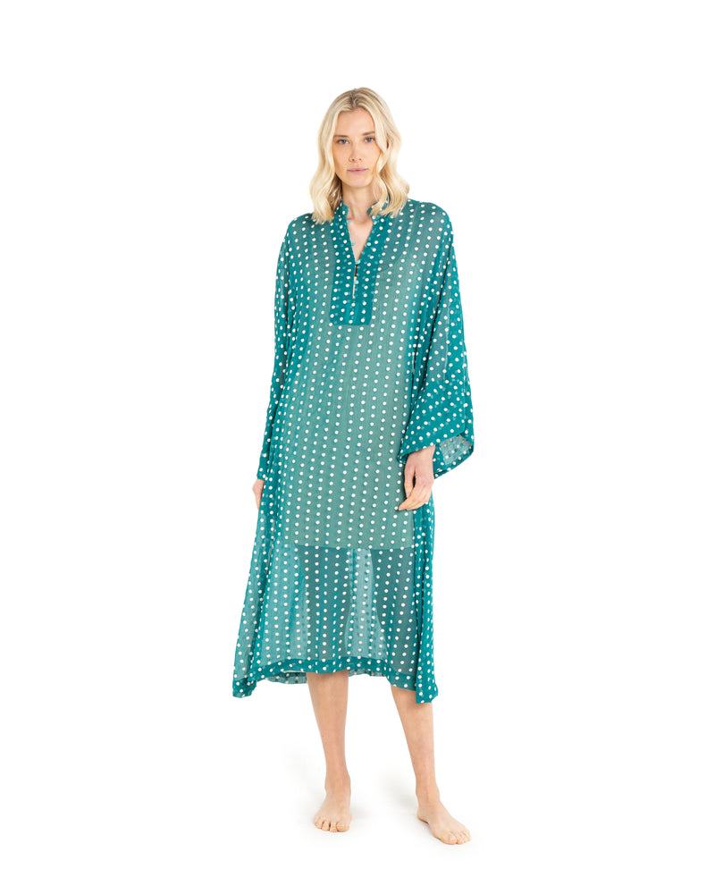 no. 571 green dot maxi caftan