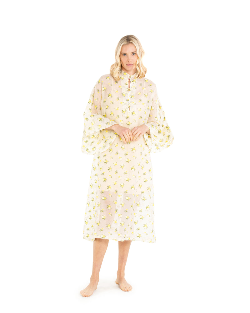 no. 570 yellow floral sheer maxi caftan