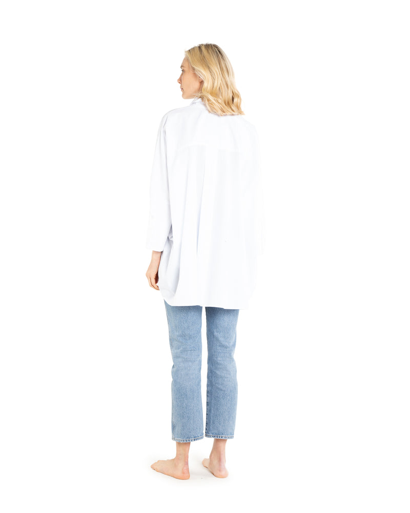 no. 1001 White Oversized Button Down Shirt