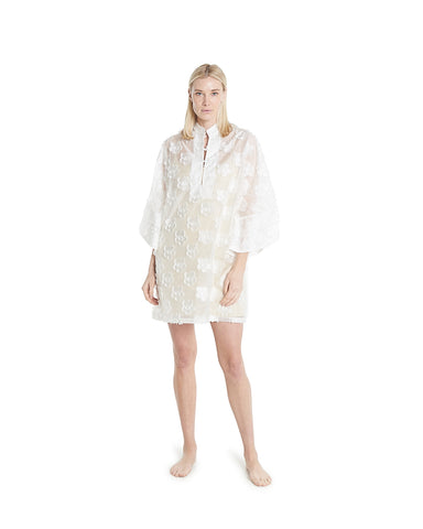 no. 628 aqua 3d lace mini caftan