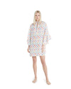 no. 629 white sheer floral short caftan