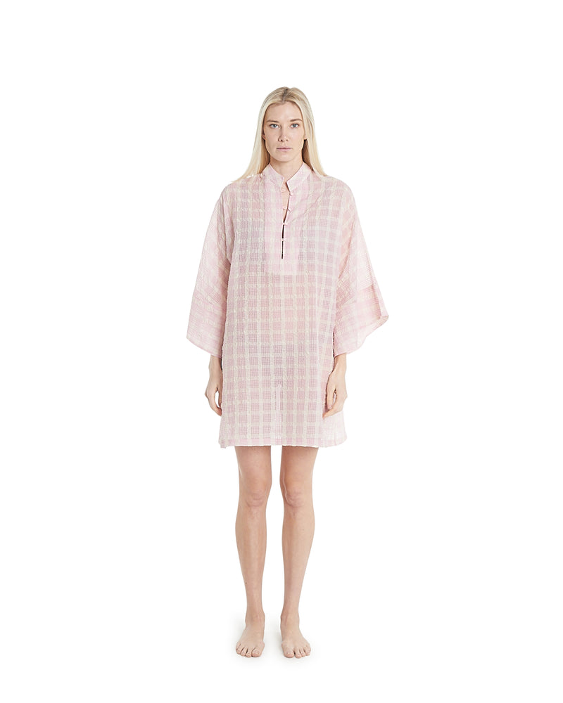no. 624 pink & white plaid mini caftan