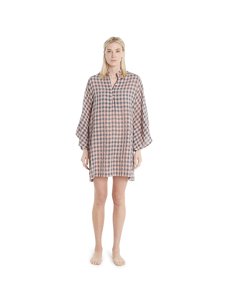 no. 636 peach & sage gingham mini caftan