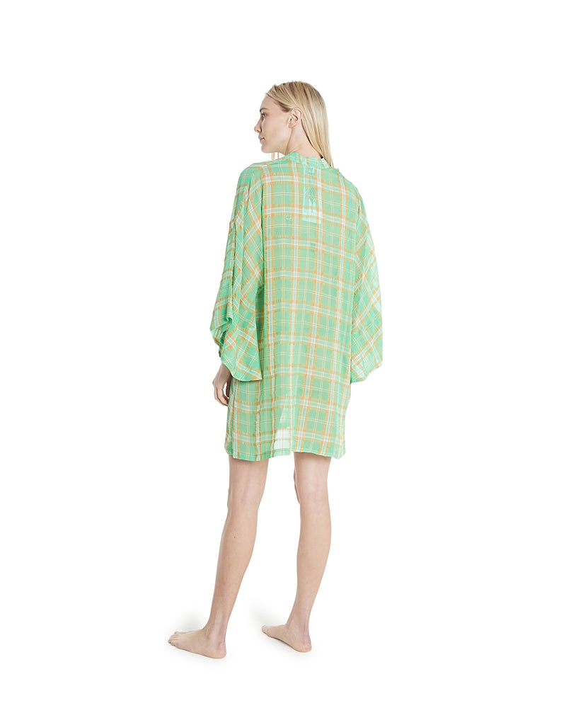 no. 635 green + orange plaid mini caftan