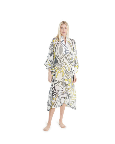 no. 482 sheer yellow floral maxi caftan