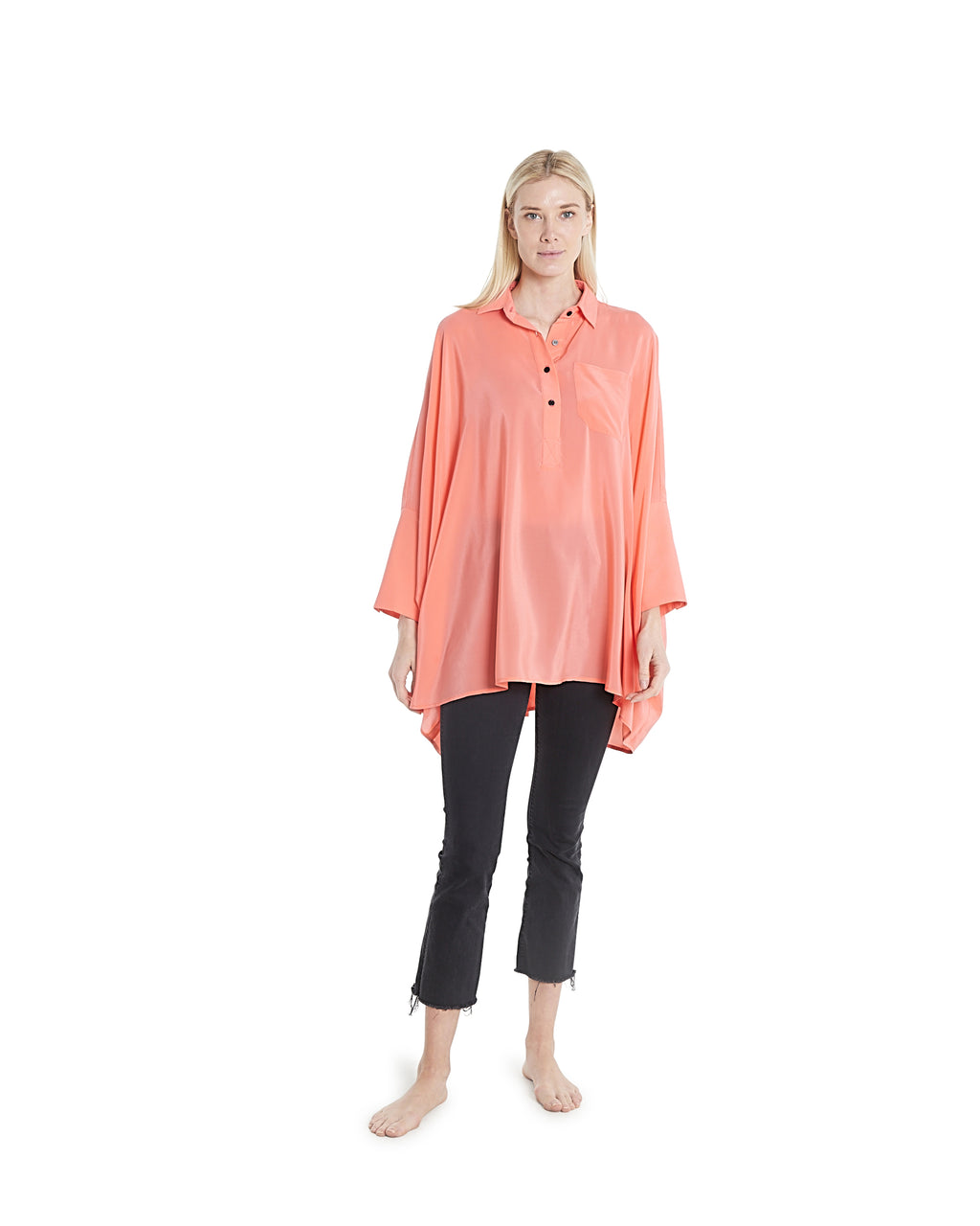no. 1025 Orange oversized button down shirt