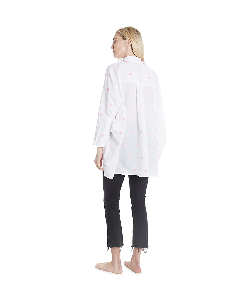 no. 1034 embroidered heart oversized button down shirt