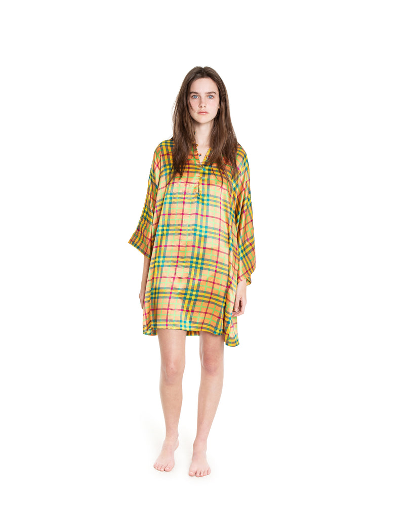 no. 710 orange plaid silk mini caftan