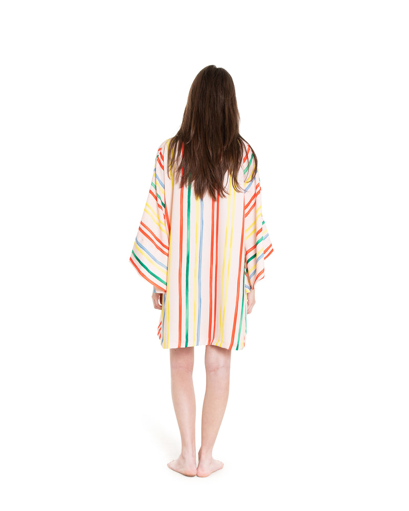 no. 718 pink multi colored stripe mini caftan
