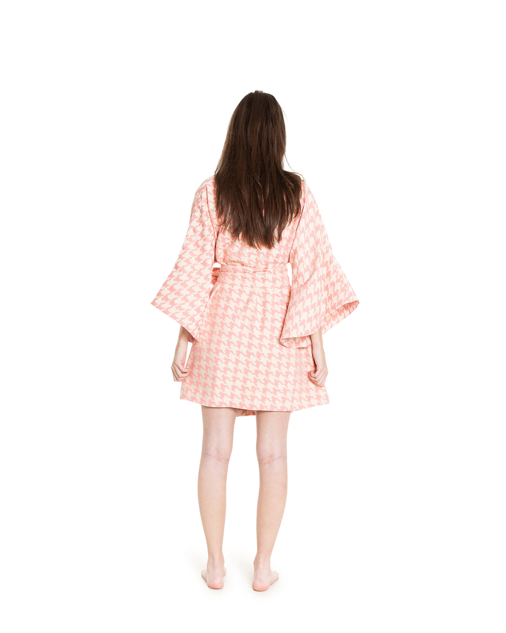 no. 706 pink houndstooth mini wrap