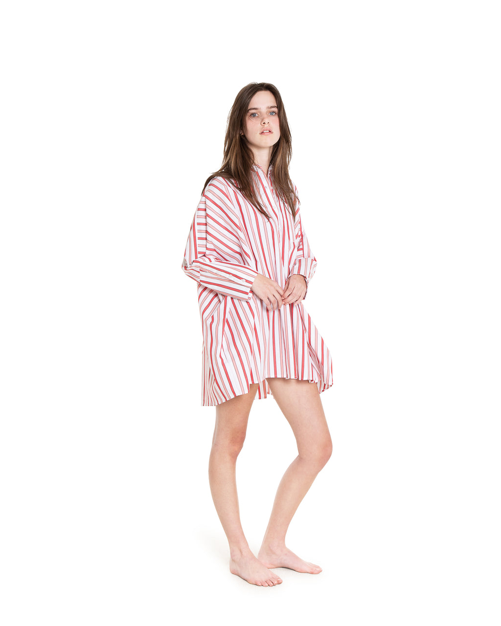 no. 1036 pink & red striped oversized shirt